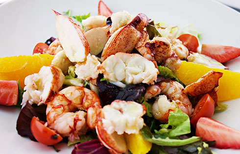 Red lobster and prawn salad with orange vinaigrette